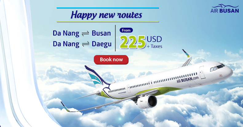 Busan Air offers hot promotions for Danang - Busan / Daegu - Da Nang