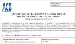 Giấy đề nghị mở tài khoản ngân hàng ACB