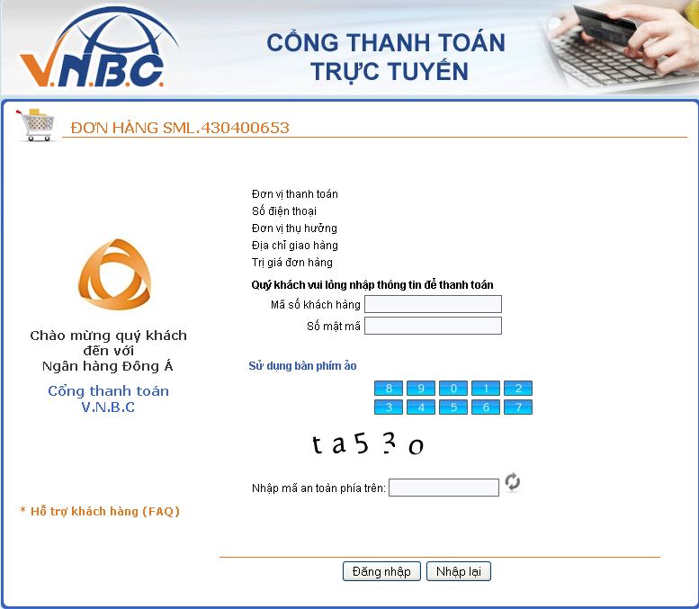 Hướng dẫn thanh toán qua DongABank