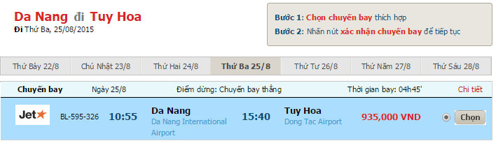 Ve may bay tu Da Nang di Tuy Hoa